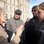 From left, Susan Schmidt, Chief Legislative Aide, Michigan House of Representatives, David Dobee, AFT Michigan, Lorenzo Robinson, Vice President of UAW Local 228, and Beth Sabo, a teacher for 18 years in Lamphere Schools, speaks at a protest against Emergency Financial Manager legislation at the Michigan State Capital in Lansing, MI, Tuesday, March 8, 2011. (Jeffrey Sauger)