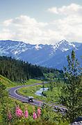 Alaska. Seward Highway. Turnagain Pass and Kenai Mts. with truck camper.