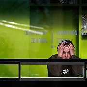 "SHOT 11/22/08 5:54:12 AM - A museum worker bored at work in  Prague, Czech Republic. Prague is the capital and largest city of the Czech Republic. Its official name is Hlavní m?sto Praha, meaning Prague, the Capital City. Situated on the River Vltava in central Bohemia, Prague has been the political, cultural, and economic centre of the Czech state for over 1100 years. The city proper is home to more than 1.2 million people, while its metropolitan area is estimated to have a population of over 1.9 million. Since 1992, the extensive historic centre of Prague has been included in the UNESCO list of World Heritage Sites. According to Guinness World Records, Prague Castle is the largest ancient castle in the world. Nicknames for Prague have included ""the mother of cities"", ""city of a hundred spires"" and ""the golden city"". Since the fall of the Iron Curtain, Prague has become one of Europe's (and the world's) most popular tourist destinations. It is the sixth most-visited European city after London, Paris, Rome, Madrid and Berlin. Prague suffered considerably less damage during World War II than some other major cities in the region, allowing most of its historic architecture to stay true to form. It contains one of the world's most pristine and varied collections of architecture, from Art Nouveau to Baroque, Renaissance, Cubist, Gothic, Neo-Classical and ultra-modern..(Photo by Marc Piscotty / © 2008)"