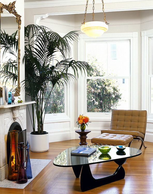 Living Room of 19th century home with modernist furnishings