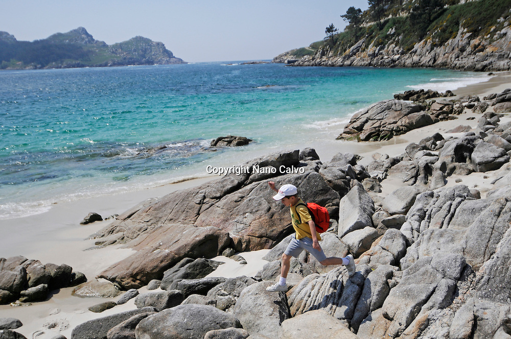 Nosa Se&ntilde;ora Beach (Praia de Nosa Se&ntilde;ora) in Cies Islands (Islas C&iacute;es), a paradisiac archipelago and Natural Reserve since 1908, off the coast of Pontevedra, in Galicia, Spain. <br /> <br /> In the year 2007, the British newspaper The Guardian chose Rodas beach, in the island of Monteagudo, as the &quot;most beautiful beach of the world&quot;.