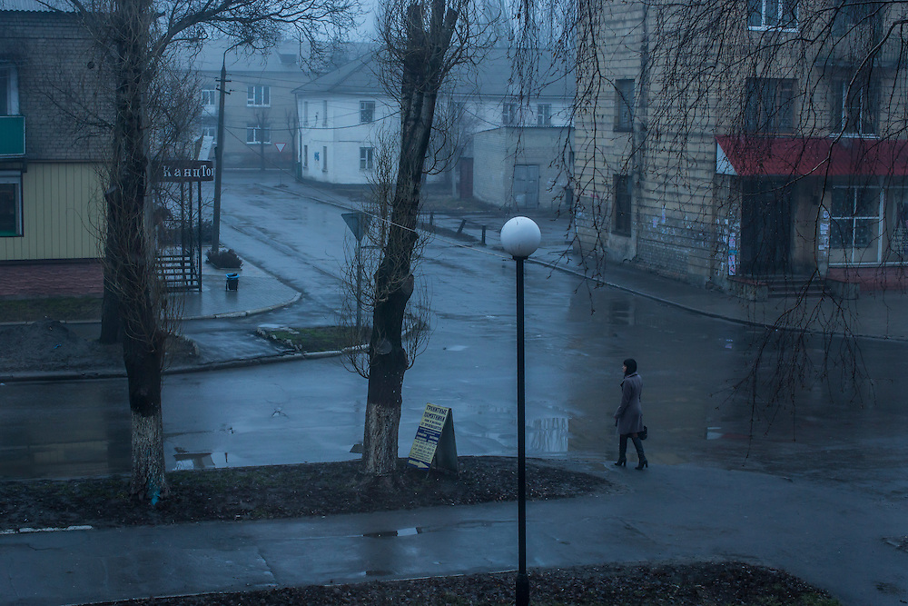 An early morning street scene on Monday, February 15, 2016 in Krasnoarmiisk, Ukraine.