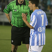 The Hammerheads' Manu Aparicio speaks to a referee during the season opener against Harrisburg. (Jason A. Frizzelle)