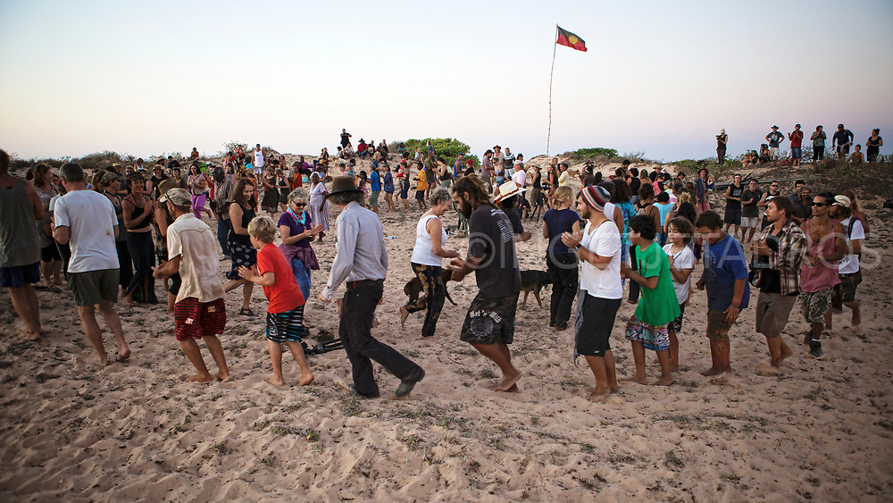 """On the twelfth of October 2013, the night of the """"blue moon"""", a very special event took place at James Price Point at Walmadan, where families and traditional owners celebrated country. This is the site of a proposed LNG hub on the pristine coast line of the remote Kimberley region of Western Australia. Broome, WA"""