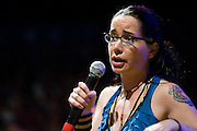 Janeane Garofalo performs during the first day of the 2008 Bonnaroo Music & Arts Festival on June 12, 2008 in Manchester, Tennessee. The four-day music festival features a variety of musical acts, arts and comedians..Photo by Bryan Rinnert