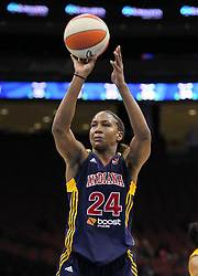 June 3, 2012; Newark, NJ, USA; Indiana Fever forward Tamika Catchings (24) shoots a free throw during the second half at the Prudential Center. The Liberty defeated the Fever 87-72.