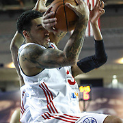 Delaware 87ers Forward Drew Gordon (32) pulls down the rebound under the basket in the first half of a NBA D-league regular season basketball game between the Delaware 87ers and the Erie BayHawk (Orlando magic) Friday, Jan. 02, 2015 at The Bob Carpenter Sports Convocation Center in Newark, DEL