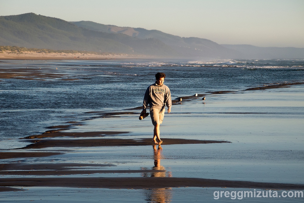 Brett Mizuta on the beach at Manzanita, Oregon, July 30, 2015,