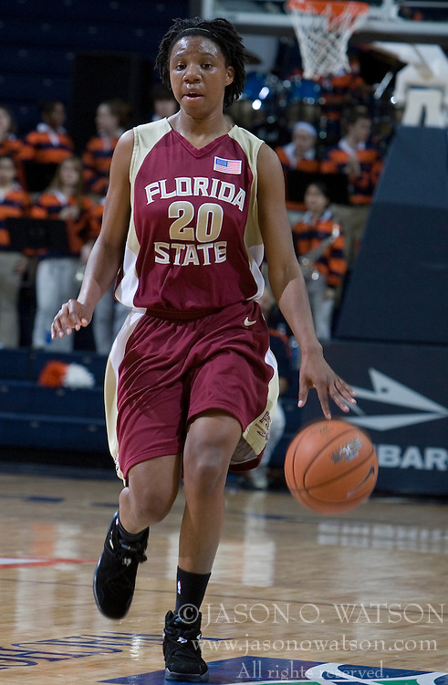 Florida State Seminoles guard Tanae Davis-Cain (20) in action against UVA.  The Virginia Cavaliers Women's Basketball fell to the Florida State Seminoles 79-77 in their final regular season home game at John Paul Jones Arena in Charlottesville, VA on February 18, 2007.