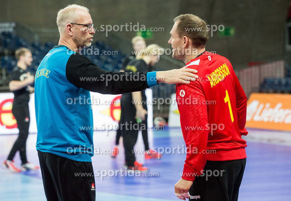 Mats Olsson, goalkeepers coach and Mattias Andersson during practice session of Team Sweden on Day 1 of Men's EHF EURO 2016, on January 15, 2016 in Centennial Hall, Wroclaw, Poland. Photo by Vid Ponikvar / Sportida