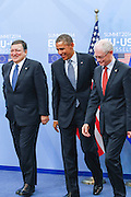 Jos&eacute; Manuel Barroso, President of the European Commission, left, after a welcome shake hands with The United States President Barack Obama and Herman Van Rompuy, President of the European Council prior a meeting of the EU-US Summit in Council of Europe, in Brussels, Wednesday 26, March 2014.<br /> This is the first visit for President Barack Obama to the European Institutions in Brussels. Photo by Delmi Alvarez