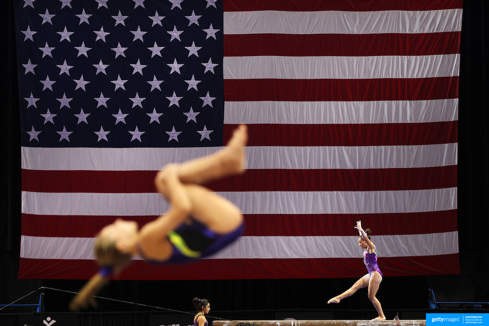 Gymnasts in action during a final training session before the start of The 2013 P&amp;G Gymnastics Championships, USA Gymnastics&rsquo; national championships which runs from Thursday until Sunday at the XL, Centre, Hartford, Connecticut.<br /> The event features gymnasts in both the junior and senior divisions. Performances will determine all-around and individual event national champions, as well as the national team for the junior and senior elite levels. Hartford, Connecticut, USA. 14th August 2013. Photo Tim Clayton
