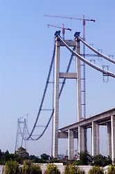 View of construction of Runyang Bridge in China currenly the longest bridge in China