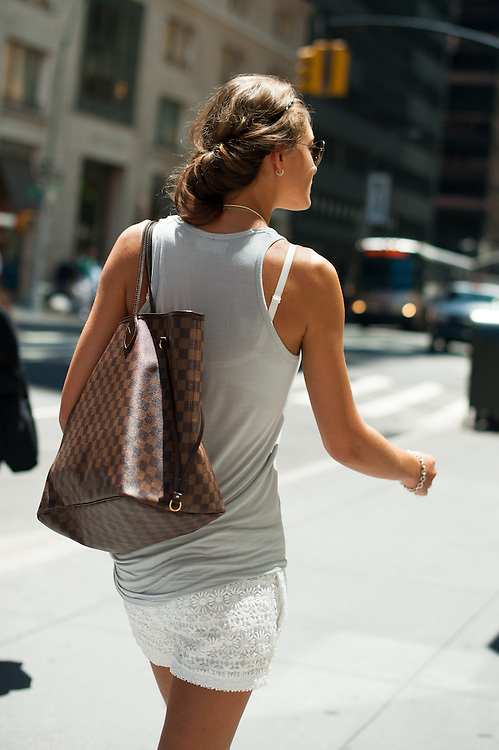 White Lace Shorts and Louis Vuitton Bag, Madison Avenue