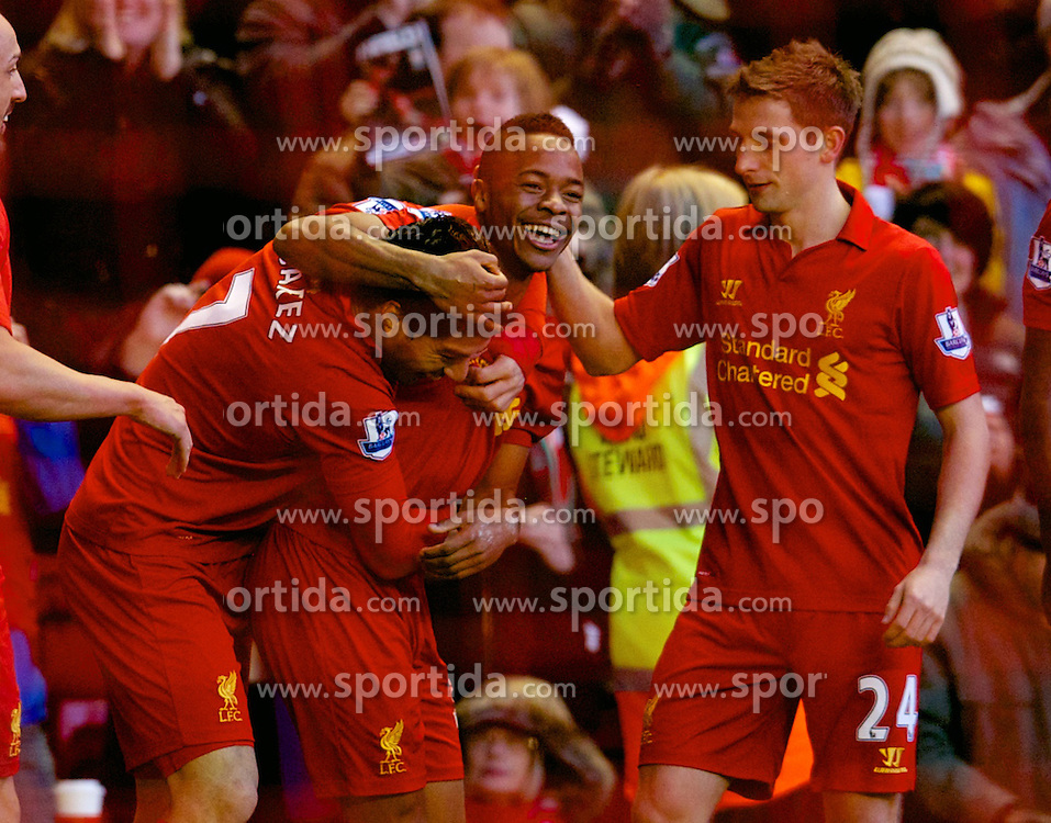 17.11.2012, Anfield, Liverpool, ENG, Premier League, FC Liverpool vs Wigan Athletic, 12. Runde, im Bild Liverpool's Luis Alberto Suarez Diaz celebrates scoring the first goal against Wigan Athletic with team-mates Jose Enrique, Raheem Sterling and Joe Allen in action against Wigan Athletic during the English Premier League 12th round match between Liverpool FC and West Wigan Athletic at Anfield, Liverpool, Great Britain on 2012/11/17. EXPA Pictures © 2012, PhotoCredit: EXPA/ Propagandaphoto/ David Rawcliffe..***** ATTENTION - OUT OF ENG, GBR, UK *****