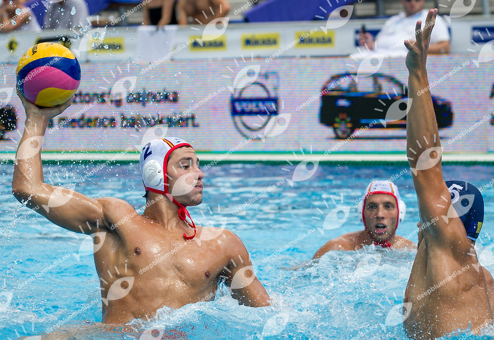 2  MUNARRIZ A.  ESP<br /> 5 CRETU Andrei ROU<br /> Spain (White) Vs Romania (Blue) Men<br /> LEN European Water Polo Championships 2014 - July 14-27<br /> Alfred Hajos -Tamas Szechy Swimming Complex<br /> Margitsziget - Margaret Island<br /> Day13 - July 26<br /> Photo Giorgio Scala/Inside/Deepbluemedia