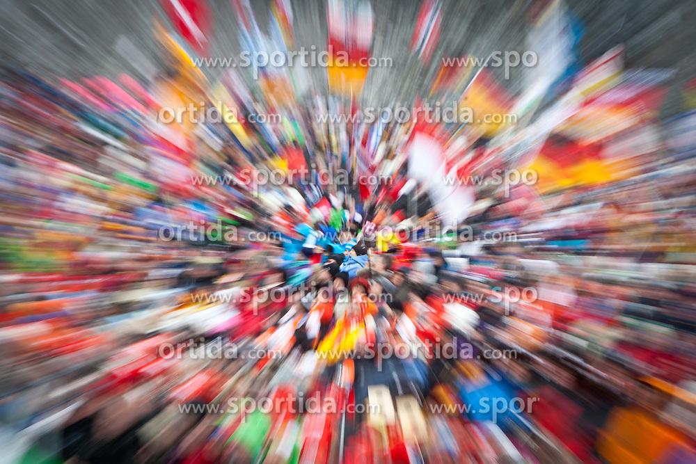 "20.01.2012, Südtirol Arena, Antholz, ITA, E.ON IBU Weltcup, 6. Biathlon, Antholz, Sprint Herren, im Bild Fan Feature, Zoomeffekt // Fan Feature Zoom Effect during Sprint Men E.ON IBU World Cup 6th, ""Southtyrol Arena"", Antholz-Anterselva, Italy on 2012/01/20, EXPA Pictures © 2012, PhotoCredit: EXPA/ Juergen Feichter"