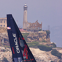 June-16-2011 San Francisco: Oracle Racing brings the action of the America's Cup to the San Francisco Bay. Oracle Racing AC45 wingsail catamarans train in the San Francisco Bay.  Mandatory Credit: Dinno Kovic / Dinno Kovic Photography