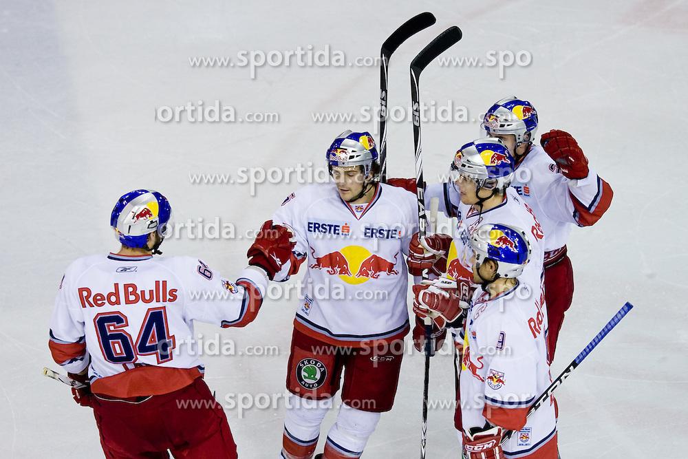 Team Red Bull Salzburg during ice-hockey match between HDD Tilia Olimpija and EC Red Bull Salzburg in 13th Round of EBEL league, on October 17, 2010 at Hala Tivoli, Ljubljana, Slovenia. (Photo By Matic Klansek Velej / Sportida.com)