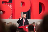 19 MAR 2017, BERLIN/GERMANY:<br /> Martin Schulz, SPD, haelt seine Rede vor seiner Wahl zum SPD Parteivorsitzenden und SPD Spitzenkandidat der Bundestagswahl, a.o. Bundesparteitag, Arena Berlin<br /> IMAGE: 20170319-01-031<br /> KEYWORDS: party congress, social democratic party, candidate, speech