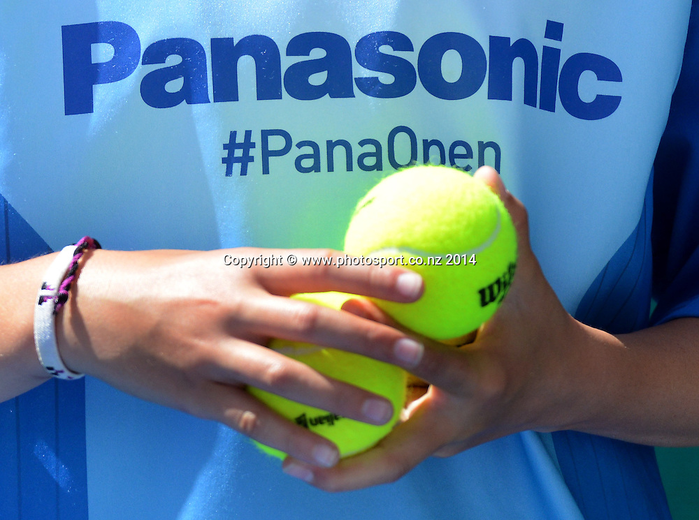 Panasonic sponsorship on Day 3 at the 2014 Heineken Open. ASB Tennis Centre, Auckland. New Zealand. Wednesday 8 January 2014. Photo: Andrew Cornaga/www.photosport.co.nz