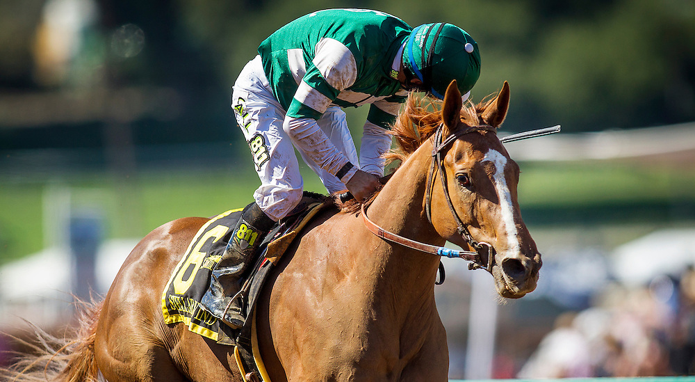 April 04 2015: Stellar Wind with jockey Victor Espinoza up wins The GI Santa Anita Oaks at Santa Anita Park in Arcadia CA. Alex Evers/ESW/CSM