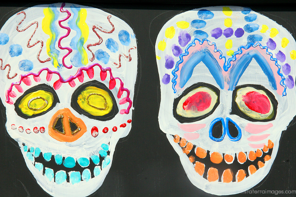 USA, California, Oceanside. Painted Sugar Skulls decorate a Oaxacan festival for Dia de Los Muertos (Day of the Dead).