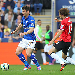 Leicester City's David Nugent on the ball during the Barclays Premiership match between Leicester City FC and Manchester United FC, at the King Power Stadium, Leicester, 21st September 2014 © Phil Duncan | SportPix.org.uk