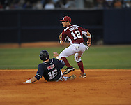 Mississippi vs. Arkansas in a college baseball game at Oxford-University Stadium in Oxford, Miss. on Saturday, May 8, 2010. (AP Photo/Oxford Eagle, Bruce Newman)