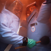 NNot even fearsomely infectious diseases such as Ebola and smallpox could survive the chemical scrubdowns practiced by researchers clad in biosuits at the U.S. Army Medical Research Institute in Fort Detrick, Maryland.