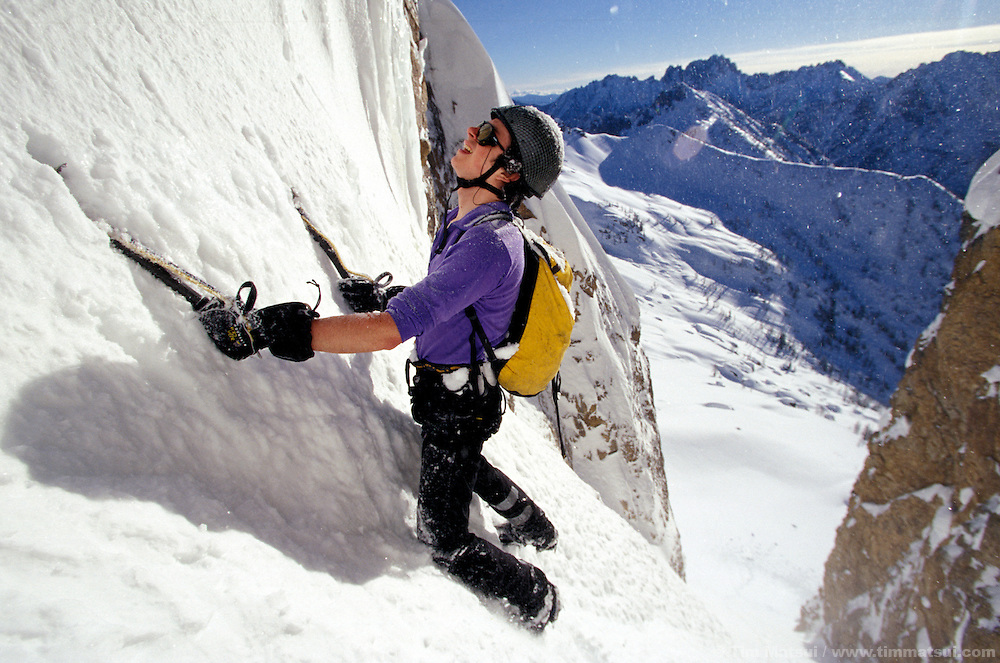 A young Colin Haley on the East Face of Cutthroat Peak, North Cascades.