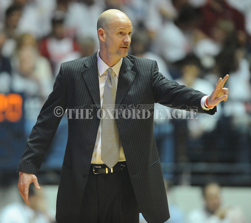 "Mississippi head coach Andy Kennedy watches action against Kentucky at the C.M. ""Tad"" Smith Coliseum on Tuesday, January 29, 2013.  (AP Photo/Oxford Eagle, Bruce Newman).."