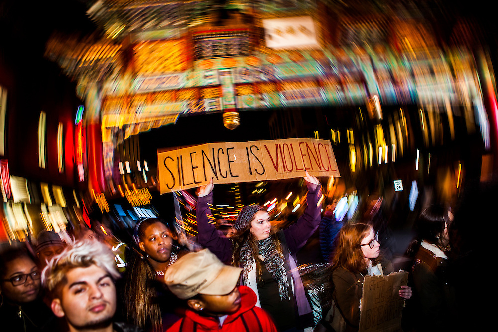 WASHINGTON, D.C. - December 5: Protesters demonstrate on the streets of Washington during a protest after two grand juries decided not to indict the police officers involved in the deaths of Michael Brown in Ferguson, Mo. and Eric Garner in New York, N.Y. in Washington, D.C. on December 5, 2014. Samuel Corum / Anadolu Agency
