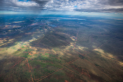 Aerial view of the Fitzroy River and the Fitzroy Valley.