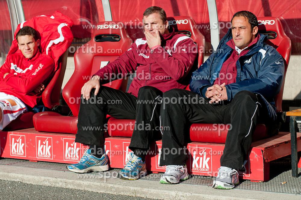 Ales Ceh, head coach of GAK, and assistant coach Herfried Sabitzer during of football match between Grazer AK - SV Tondach Gleinstätten in Regionalliga, on October 15, 2011 at UPC Arena, Graz, Austria. (Photo By Matic Klansek Velej / Sportida)