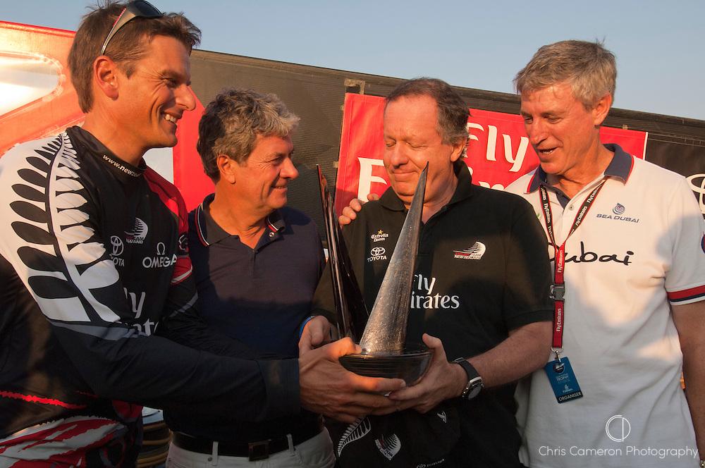 Dean Barker shares the Trophy with Emirates Team New Zealand benefactor Matteo de Nora. Louis Vuitton Trophy Dubai. 27/11/2010