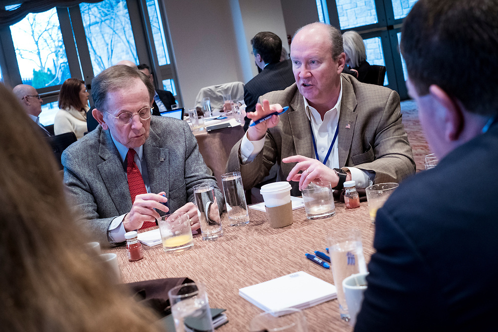 Attendees participate in activities at the 1955 Society Donor Breakfast at the 2017 National Review Ideas Summit at the Mandarin Oriental Hotel in Washington, D.C. on May 17, 2017.