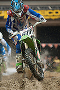 Keeping dry during the race was impossible as the 'Water Hazard was unavoidable. #911-Jacob Argubright.<br /> <br /> 2009 Endurocross Round #1 held at the Orleans Arena in Las Vegas, Nevada