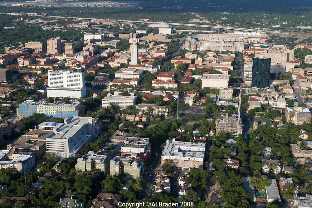 University of Texas campus with library tower in the center.