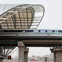 China, Shanghai, High speed train arrives in MagLev Train station