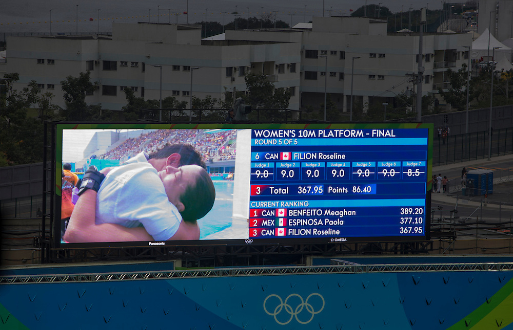 Meaghan Benfeito wins the bronze medal in the 10 meter at the Rio Olympics on August 18, 2016.