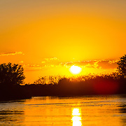 Sunset, Brazil; Mato Grosso; Pantanal, river, reflection