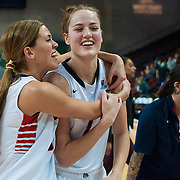 Zags Ellie Tinkle and Shelby Cheslek celebrate after winning the WCC semifinal. (Austin Ilg photo, Gonzaga Bulletin)