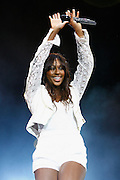 Alexandra Burke performs live on stage at The Big Top stage during day one of the Isle of Wight Festival 2011 at Seaclose Park on June 10, 2011 in Newport, Isle of Wight.  (Photo by Simone Joyner)