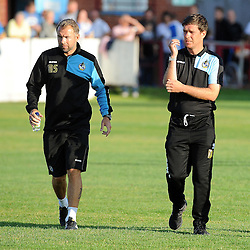 Bristol Rovers assistant manager, Marcus Stewart and Bristol Rovers manager, Darrel Clarke - Photo mandatory by-line: Neil Brookman/JMP - Mobile: 07966 386802 - 15/07/2015 - SPORT - Football - Bristol - Cossham Stadium - Pre-Season Friendly