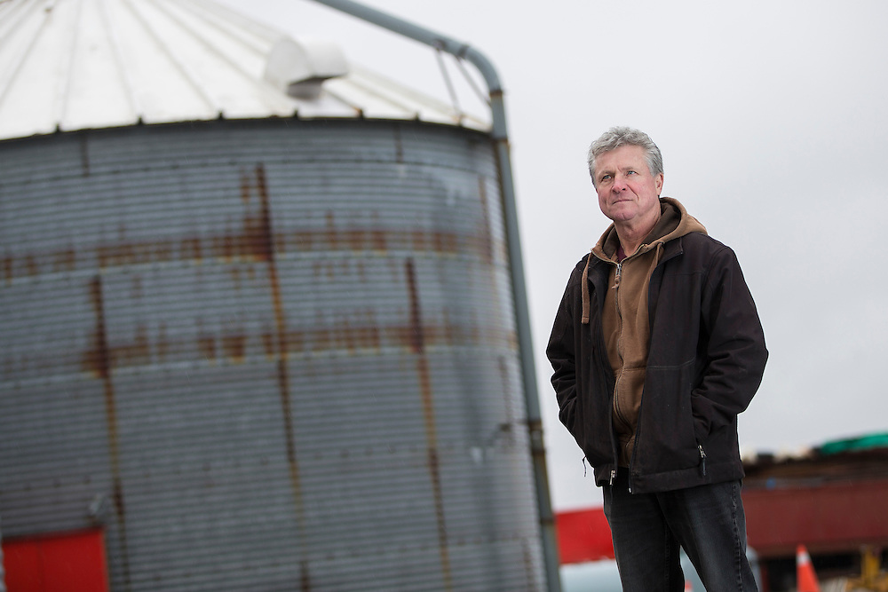 Francis Dobbelaar of J Fran Farms near Wallaceburg, Ontario, stands by his grain bins Thursday, January 12, 2017. He and may other vegetable farmers may be forced to go back to grain if they loose their dispute with the processors.<br /> Farmers Forum/ Geoff Robins
