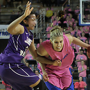 Delaware Forward Elena Delle Donne (11) drives pass James Madison Forward Toia Giggetts (3) in the second half of a regular season NCAA basketball game against James Madison Sunday, Feb 24, 2013 at the Bob Carpenter Center in Newark Delaware...Delaware (24-3; 15-0) defeated James Madison (18-9; 13-3) 61-60