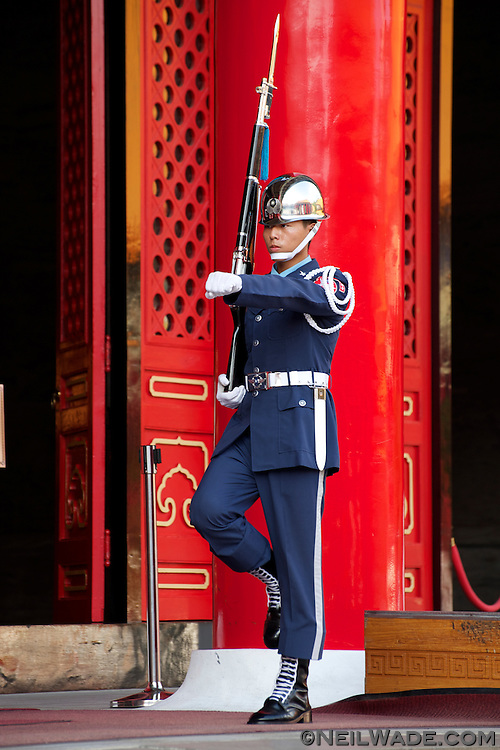 See military precision at the Martyr's Shrine in Taipei.