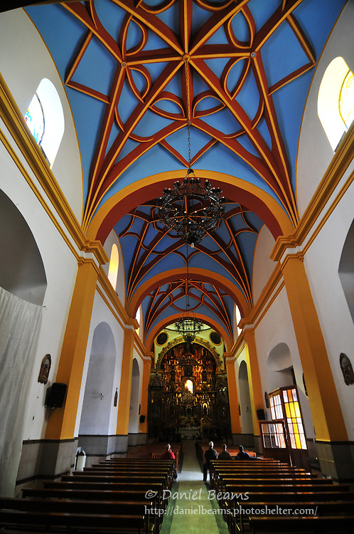 Interior of church in Copacana, Bolivia