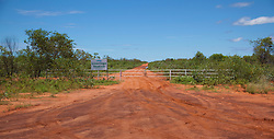 Evidence of recent rain at the turnoff to Liveringa Station from the main highway to Fitzroy Crossing.